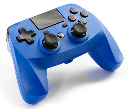 snakebyte GAMEPAD 4S - bleu - manette Bluetooth sans fil pour PlayStation 4 / PS4 Slim / Pro, manettes analogiques doubles, compatible PC (Windows 7/8/10), prise casque 3,5 mm, pavé tactile