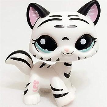LPS Black White Striped Cat Tiger Kitty Kids Toys Gift Animal Kitten with Blue Eyes for Kids 3