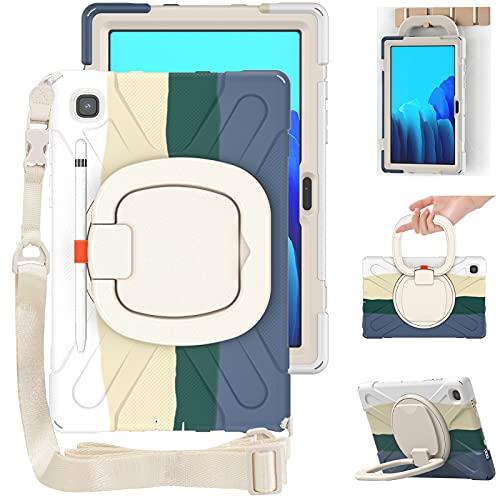 Junfire Funda para Galaxy Tab A7, 2020, SM-T500, SM-T505 de 10,4 pulgadas, resistente, antigolpes, con soporte para bolígrafo y correa para el hombro, soporte giratorio 360 grados, color verde