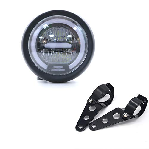 Faro LED per Moto, Distanza Faro Universale 6.5 pollici con Supporto per Moto Cafe Racer - Luce bianca