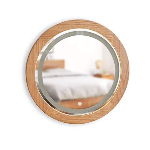 Espejo de baño LED iluminado, espejo redondo de roble nórdico,...