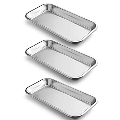 COYMOS 3 Pack Surgical Tray, Stainless Steel Tray for Lab Instrument Supplies, Tattoo Tool (Silver)