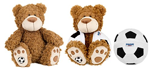 Buddy Balls Plush Teddy Bear Convertible Toy Soccer Ball-Vic, Brown/Black/White