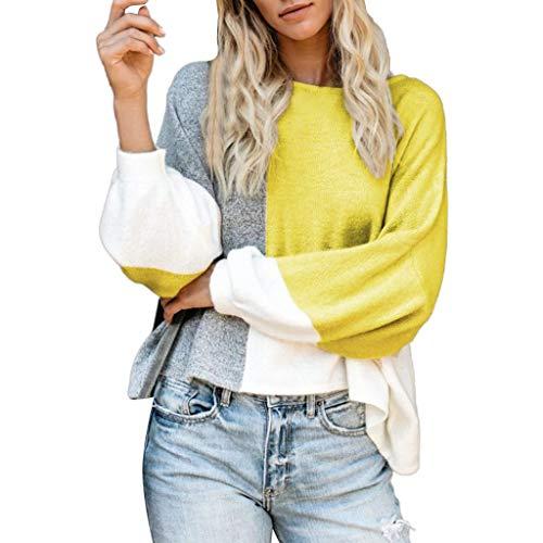 Reooly suéter de Cuello de Costura de Bloque de Color para Mujer Jersey de Punto Grueso de Manga Larga a Rayas