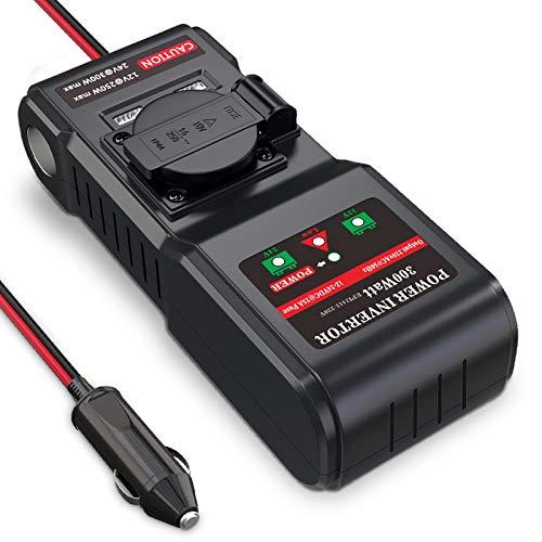 BMK 12V 24V auf 230V 300W Spannungswandler Wechselrichter Auto Stromwandler Inverter DC AC mit 1 EU-Steckdose +1 Zigarettenanzünde Stecker +2 USB Anschlüsse inkl. Kfz