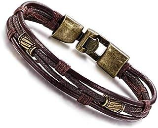 Hand-woven leather hand strap bracelet for men, brass