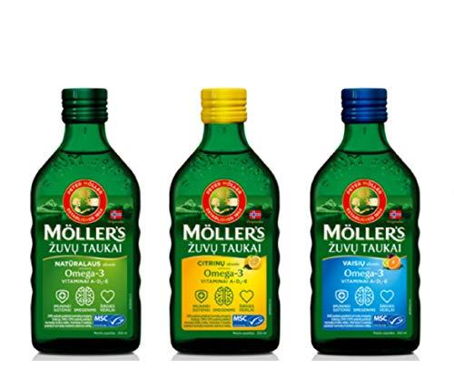 Moller Omega 3 Aceite de Hígado Suplemento dietético nórdico con EPA, DHA, Vitamina A, D, E Premio Superior del Gusto Alta pureza Sabor a Lemon, Natural, Fruit de marca de 165 años 250 ml x 3 botellas