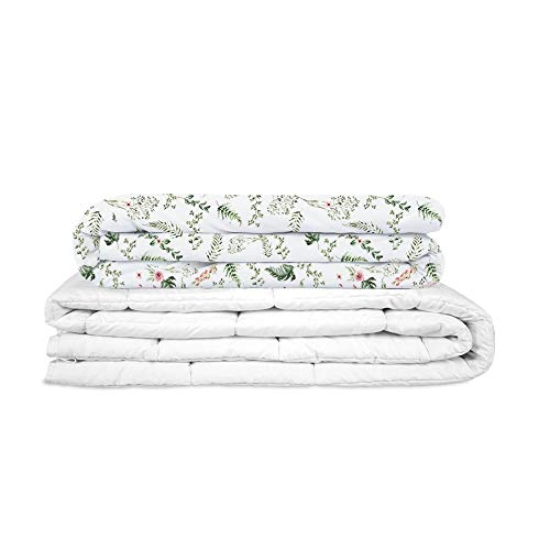 GRAVITY TherapieDecke Gewichtsdecke Incl. Baumwolle SOMMERBEZUG Pflanzen - Schwere Decke für Erwachsene/Jugendliche Für besseren Schlaf, Größe: 135x200 cm, 8 kg