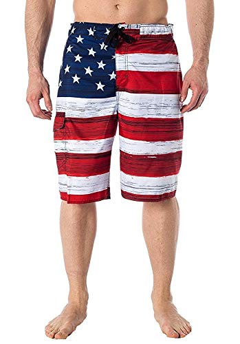 Beach Outfitters Men#039s American Flag Inspired Board Shorts Red Medium