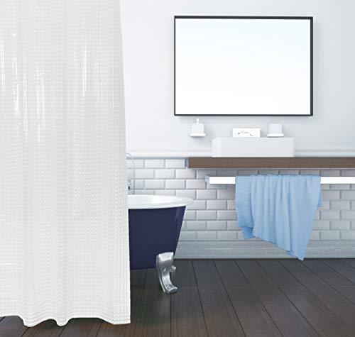 ZOLLNER Duschvorhang 3D 180x200 cm, Anti-Schimmel, wasserabweisend, 12 Ringe