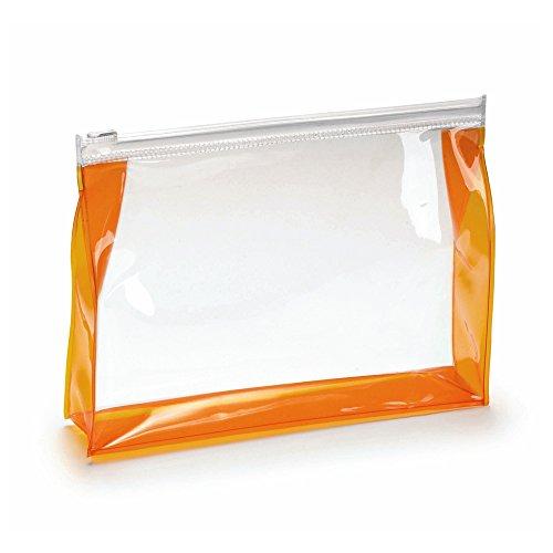 Trousses de toilette Transparent unisexe sac - sac cosmétique pour voyage - aéroport approuvé (Transparent avec Trim Orange)