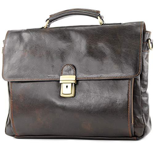modamoda de - A010 - ital. Business Laptop Akten Tasche Leder, Farbe:Dunkelbraun