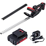 ZAKER Cordless Hedge Trimmers,20V 2Ah Powerful Electric Hedge Trimmers Cordless with Battery & Charger, 22.4' Long Steel Dual Hedge Trimmer Blade, 5/8'Cutting Capacity & 5lb Lightweight Bush Trimmers