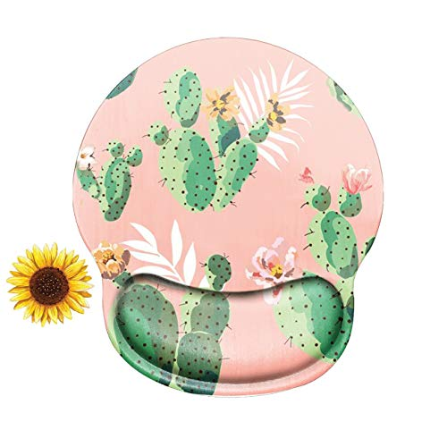 Cactus Mouse Pad with Wrist Support Gel, Computer Gaming Ergonomic Mousepad Pink Wrist Rest Mouse Pads for Laptop Office Work Women Men Kids