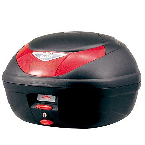 GIVI (ジビ) バイク用 リアボックス 35L 未塗装ブラック レッドレンズ モノロックケース FLOW E350N 68044