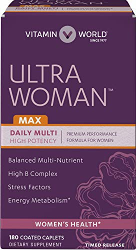 Vitamin World Ultra Woman Max Daily Multivitamins 180 Caplets, Hair Skin Nails, Antioxidant Support, Immune Health,Coated, Timed-Release, Gluten-Free