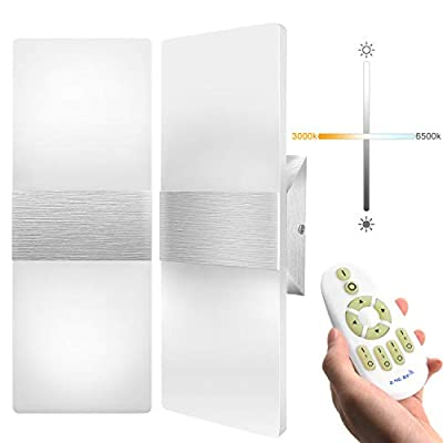 Stepless Dimming LED Wall Sconce with Remote Control JACKYLED 12W Modern Wall Sconces Lighting Set of 2 Acrylic Material Mounted Wall Lights for Hallway Bedroom Porch Stairway Living Room