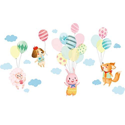 TAOYUE Cartoon konijntje hond kleurrijke ballon muursticker schattige dieren kinderkamer slaapkamer kinderkamer wandtattoos DIY vinyl woonhuis decoratie