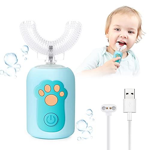Spazzolino Elettrico Bambini, Automatico a 360 ° Spazzolino Elettrico Forma di U Intelligente, 2 Modalità di Pulizia, Carica USB, Impermeabile IPX7, Adatto Bambini di Compresa 1 e 6 Anni