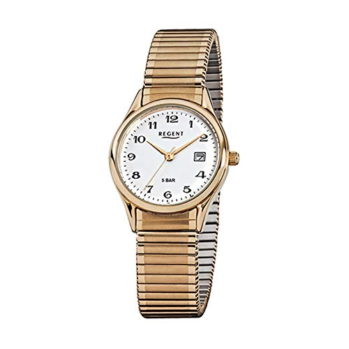 Regent F894 - Reloj de pulsera para mujer (acero inoxidable, chapado en oro)