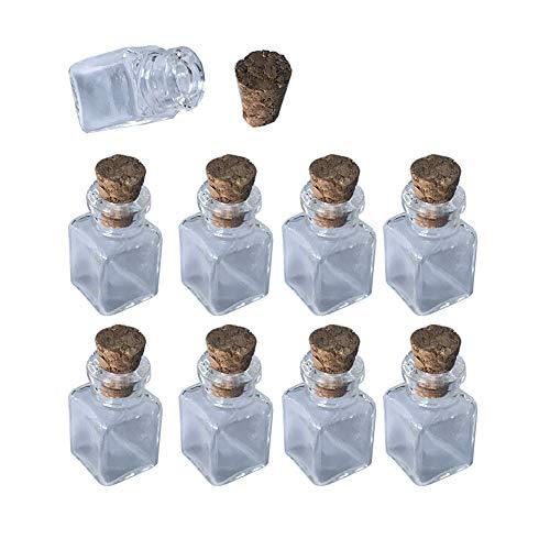 Mini Botellas de Vidrio Colgante Rectángulo Botellas Transparentes con Botellas de Corcho Tarros para Encanto de Regalo 10 Piezas (10, Rectángulo)
