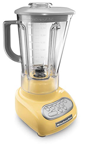 KitchenAid 5-Speed Blender with Polycarbonate Jar 0.9 Horse Power (The most powerful in its class) motor Majestic Yellow 56-oz MADE IN USA. (Renewed)