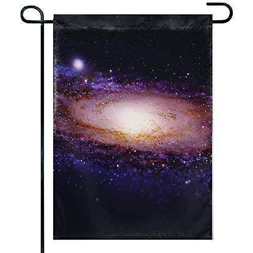 NA Bandera de jardín Decorativa para césped al Aire Libre y decoración de hogar de jardín Nebulosa de hélice de un Solo Lado Galaxy