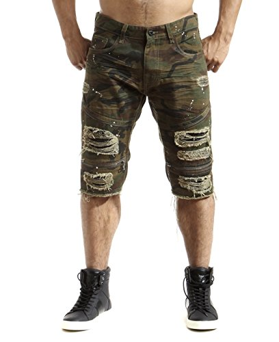 Smoke Rise Men's Ripped Twill Biker Shorts with PU Backing-Wood Camo-36
