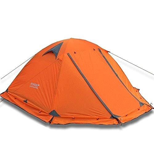 Générique Arongbc Tente de Camping pour 2 Personnes ou 3 Personnes Double Couche en Aluminium Anti-Neige Tente familiale avec Jupe Pare-Neige, 2Person Orange