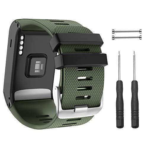 NotoCity Armband für Garmin Vivoactive HR Sport GPS Smartwatch,Premium Silikon Quickfit Armbänder Kompatibel mit Garmin Vivoactive HR,Mehrfache Farben (Armeegrün)