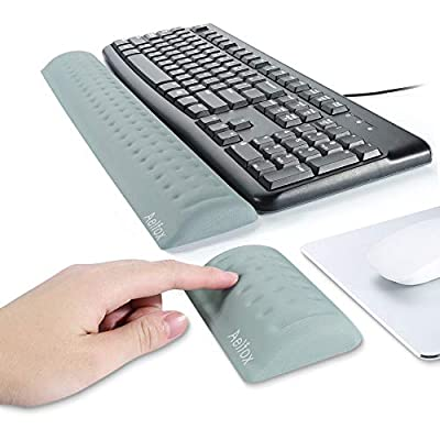 Aelfox Memory Foam Keyboard Wrist Rest&Mouse Pad Wrist Support, Ergonomic Design for Office, Home Office, Laptop, Desktop Computer, Gaming Keyboard