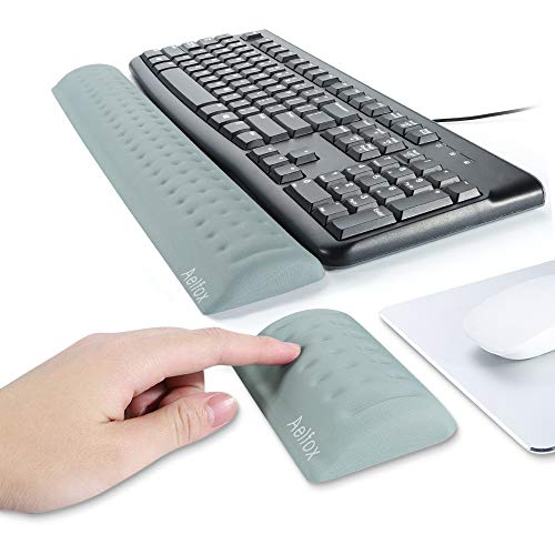Aelfox Memory Foam Keyboard Wrist Rest&Mouse Pad Wrist Support, Ergonomic Design for Office, Home Office, Laptop, Desktop Computer, Gaming Keyboard (Gray)