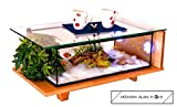Table Basse Création DRAGON 75 CM (Beige/Miel) en Hévéa Massif - Décoration Originale en Verre -...