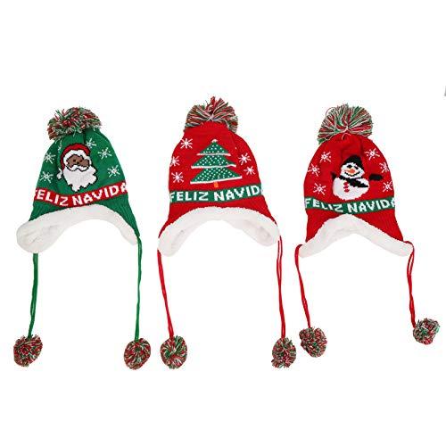 Gorro de Papá Noel Gorro Elástico Papá Noel Árbol de Navidad Patrón de nieve para Navidad(A set of christmas hats)