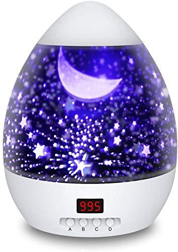 Lampada Proiettore Stelle con Timer, Luce Notturna per Bambini con 4 Colori Lampadine LED, USB Cavo, Ruotabile 100% Materiali di Sicurezza per Bambino perfetto per Regalo di Natal (Bianco)