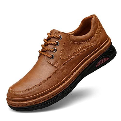 Zapatos Oxford para Hombre Hechos a Mano, con Punta Redonda, cómodos, Color Caqui marrón al Aire Libre