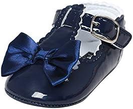 Best Meckior Infant Baby Girls Soft Sole Bowknot Princess Wedding Dress Mary Jane Flats Prewalker Newborn Light Baby Sneaker Shoes Review