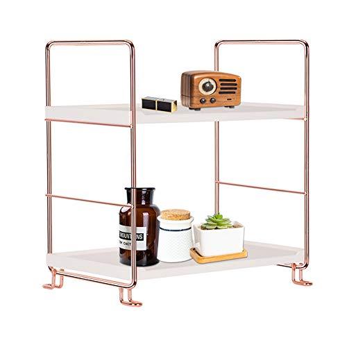 2-Tier Bathroom Countertop Organizer Makeup Storage Holder, Vanity Tray Cosmetic Stackable Rack, Kitchen Spice Rack Standing Storage Shelf(rose gold)
