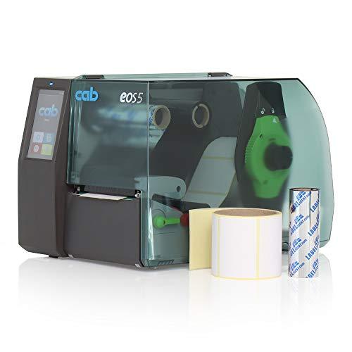 Labelident Starterset - Cab EOS5 Etikettendrucker mit Abreißkante inkl. 100 Etiketten (100 x 150 mm) auf 1 Rolle und 50 m Wachsfarbband, 300 dpi - Thermotransfer- und Thermodirektdruck