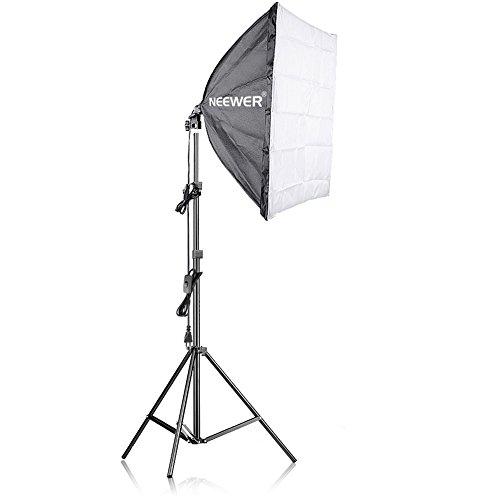 Neewer 200W Fotografía Softbox Luz Kit de Iluminación - 60x60 Centímetros Softbox y Soporte de Luz con 45W Bombilla Fluorescente para Estudio Fotográfico Retratos, de Producto y Grabación de Vídeo
