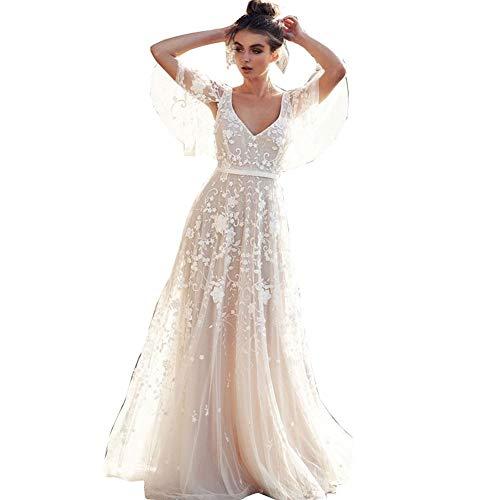 Hochzeitskleid Damen Lang Brautkleider Elegant Spitze Brautmode RüCkenfrei Abiball Prinzessin Kleider Abendkleider Elegant FüR Hochzeit (Unit: cm