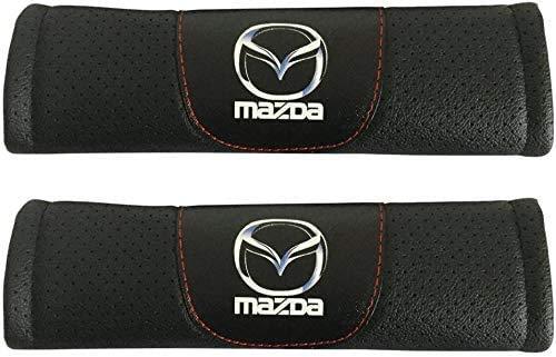 WIOP 2 Piezas Almohadillas De Seguridad,CarbóN Fibra Confort Estilo Respirable hombreras automóviles Seguridad Accesorios para Mazda 3 Mazda CX-3 Mazda 6 Mazda CX-5 Mazda MX-5 Miata Mazda CX-9
