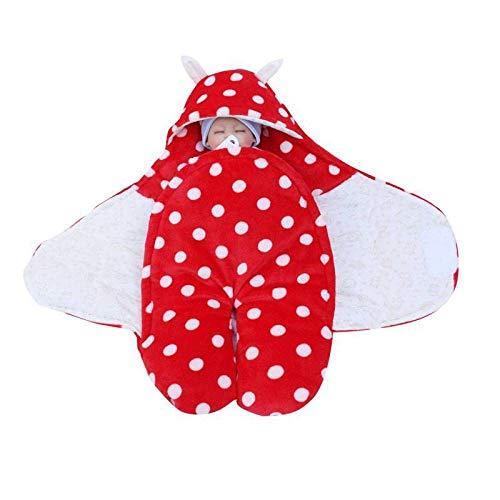 Saco de Dormir Bebe en Algodón Natural,Edredón para bebés Multifuncional, Saco de Dormir para niños Tipo Terciopelo Coralino, Rojo_85cm,Carrito de Bebé Manta