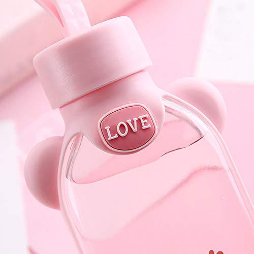 LUYANhapy9 - Botella de agua de cristal transparente con diseño de Cactus/Sakura para mujer (350 ml), color rosa