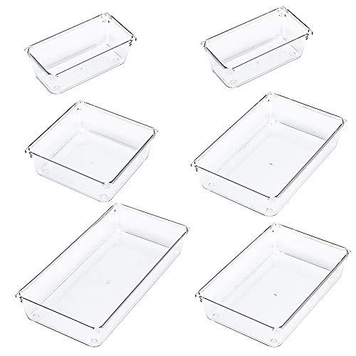 Slideep Drawer Organizer Set, Dresser Desk Drawer Dividers Clear Plastic Storage Bins for Cosmetic Makeup Trays, Kitchen Gadgets, Office Accessories 6 Packs