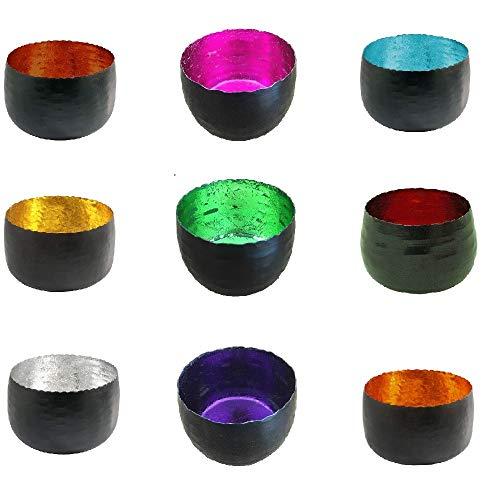 netproshop Windlicht Teelichthalter aus Metall Schwarz 8x5 cm, Farbe:Rot