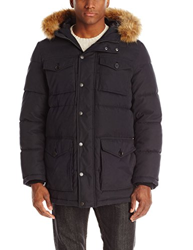 Tommy Hilfiger Men's Micro Twill Full-Length Hooded Parka Coat, Black, Large
