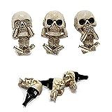 kaidan Evil Skull Trio Statue a Set of 3pcs -with Air freshener,Evil Skull Trio Statue Car Vent Clips,See no Evil Hear no Evil Skeletons,Car freshener Decorations Resin