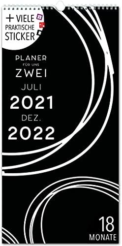Paarplaner 18 Monate: Jul 21-Dez 22   SCHWARZ-WEISS   3 Spalten   Wandkalender: 16x32,5cm   Partnerplaner 228 Sticker, Ferien 21/22, Monatskalender, Jahresplaner, Design, Style, Black/White, Kunst