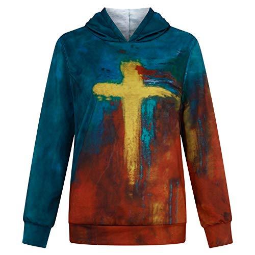 Blusa para Mujer, Pintura al óleo para Mujer Faith Jesus Cross Printed Casual Sweatshirt Print Hoodie, Ropa...